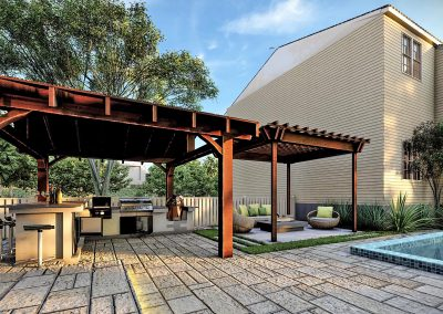 Gazebo and Pool Deck and Building