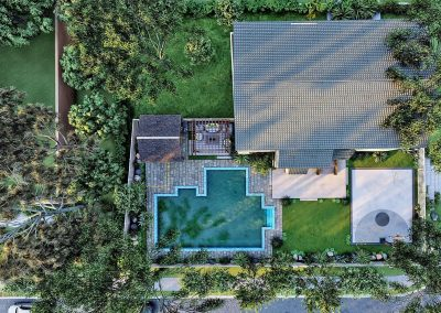 Aerial View Patio and Pool Deck